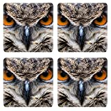 Liili Square Coasters Non-Slip Natural Rubber Desk Pads IMAGE ID: 20523883 An adult Eurasian Eagle Owl in all of its majesty Piercing orange eyes and wide wing spa