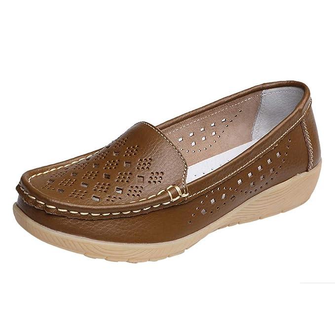 Mujer Gamuza Mocasines de Cuero Moda Loafers Casual Zapatos de Conducción Zapatillas Zapatos de Bota de Guisantes Antideslizantes cómodos al Aire Libre ...