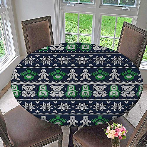 "Mikihome Modern Simple Round Tablecloth Cross Stitch Penguins Teddy Bears Angels Gingerbread Man Dark Blue Green White Decoration Washable 67""-71"" Round (Elastic Edge)"