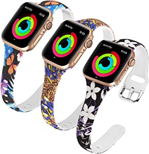 Allbingo Thin Bands Compatible with Apple Watch Band 38mm 40mm 42mm 44mm, 2019 Series 5 Feminine Women Narrow Slim Silicone Replacement Wristbands for iWatch Series 4/3/2/1 (LEWHNF, 38mm/40mm)
