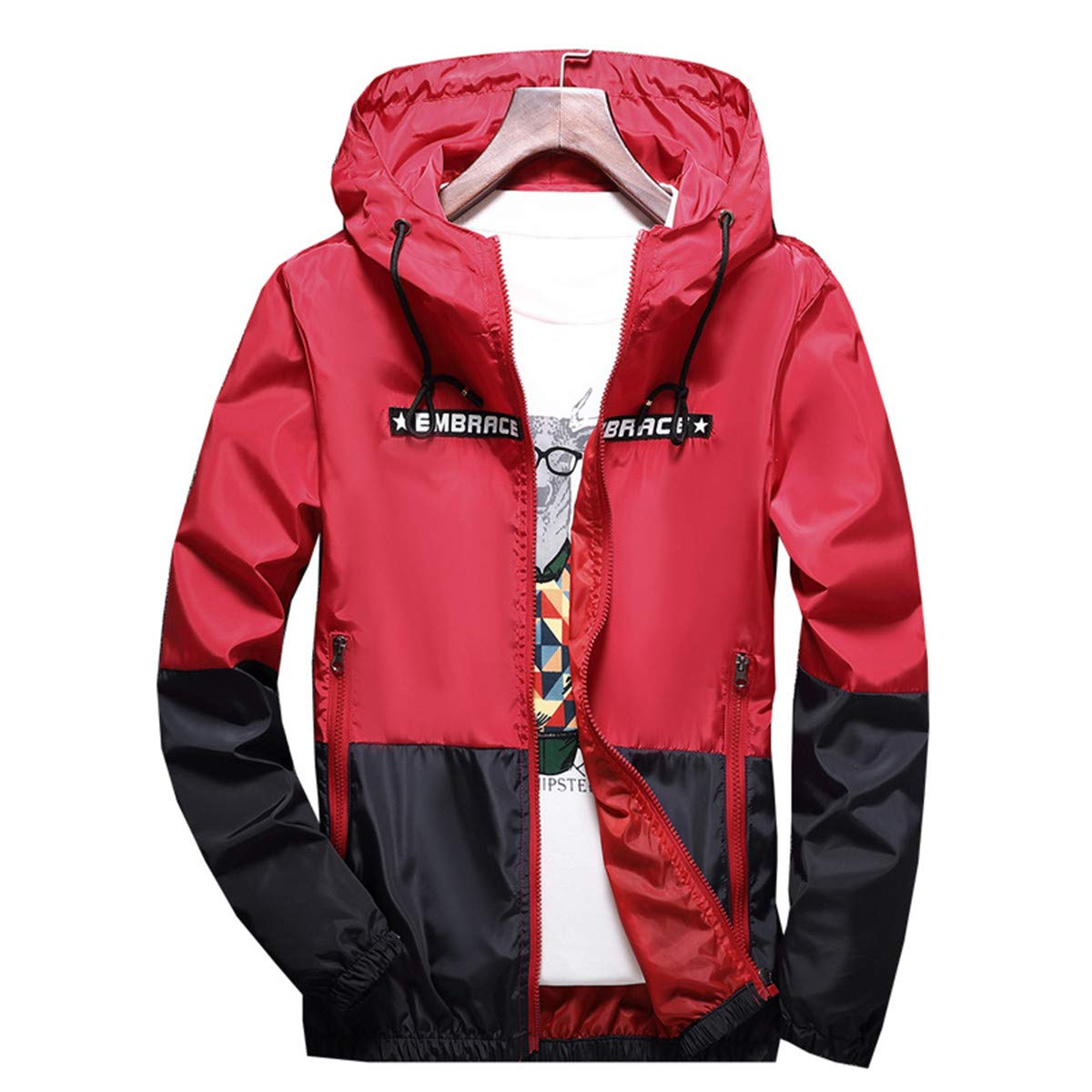 AITFINEISM Men's Lightweight Hooded Zip up Sports Jacket Windproof Windbreaker (Medium, Red) by AITFINEISM