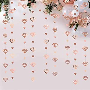 52Ft Rose Gold Diamond Heart Hanging Banner Double Sided Glitter Metallic Paper Garland for Bachelorette Engagement Wedding Bridal Shower Anniversary Valentines Day Birthday Party Decoration (4 Packs)