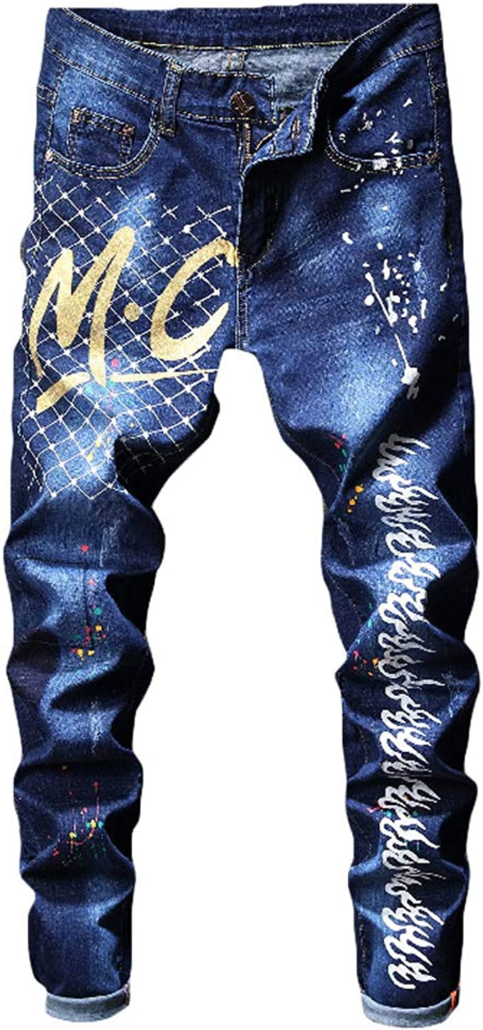 Milan Station Mens Black Patches Stretch Casual Embroidery Slim Fit Jeans Pants