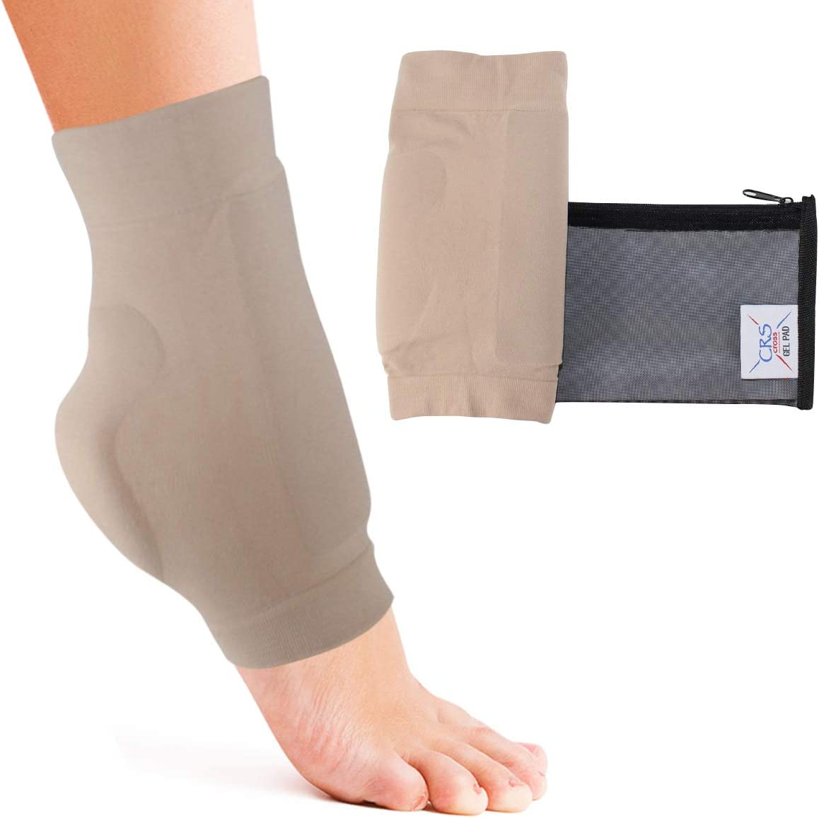 CRS Cross Boot Bumper Gel Pad Sleeve - Padded Skate Sock for Foot Protection of Achilles Tendon & Lace Bite Area Skating, Hockey, Roller, Ski, Hiking, Riding Boots (2 Sleeves & Bag)