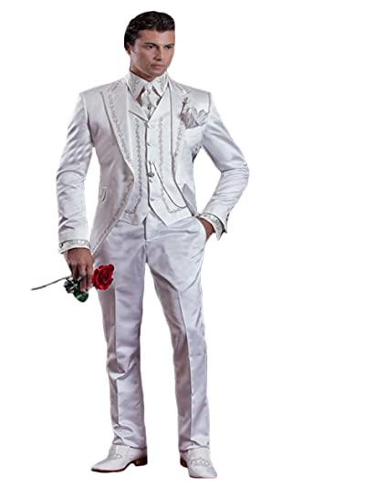 c6049648c3 LYXP Baroque Style Groom Tuxedos Groomsman Suit Evening Suits Embroidery  White Man's Suit (Jacket+