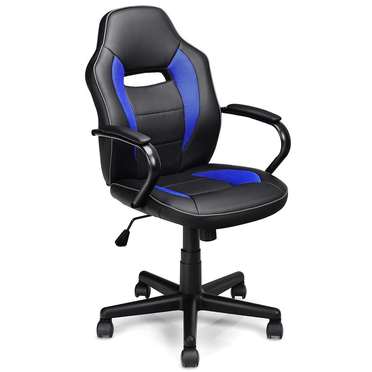 Giantex Mid-Back Office Chair, PU Leather with Breathable Cushion Computer Desk Task Chair, Racing Style Gaming Chair (Navy) by Giantex