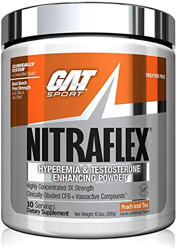 GAT Sport, NITRAFLEX Testosterone Boosting Powder, Increases Blood Flow, Boosts Strength and Energy, Improves Exercise Performance, Creatine-Free Peach Iced Tea,30 Servings