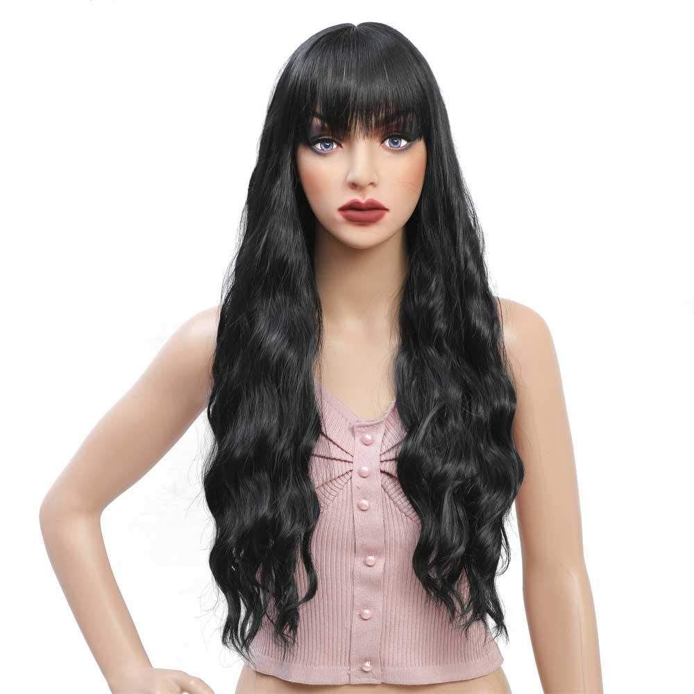 Tereshar Black Wig, Long Wavy Wig with Bangs Black Curly Wigs for Women NONE Lace Front Synthetic Party Cosplay Wigs