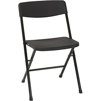 Cosco Resin 4 Pack Folding Chair With Molded Seat And Back, Black
