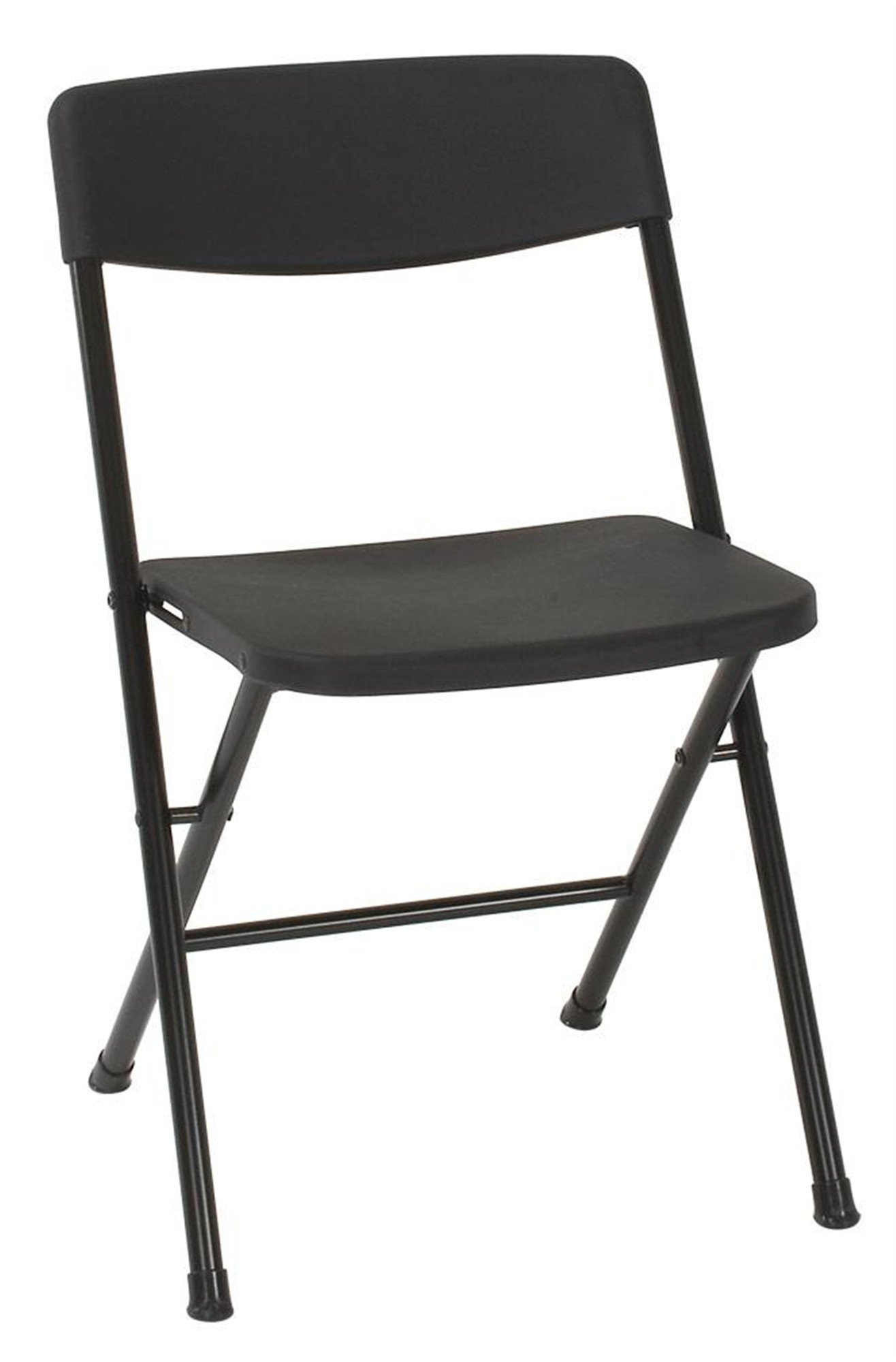 Cosco Resin Folding Chair with Molded Seat and Back, 4 Pack, Black by Cosco