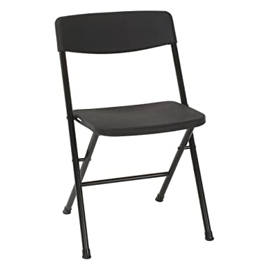 Cosco 37825BLK4E Resin Folding Chair with Molded Seat and Back, 4 Pack, Black