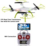 2016 Syma New X5HW (upgrade of Syma X5SW) 2.4GHz 6-Axis Gyro Wifi FPV With HD Camera RC Quadcopter Drone includes an effective altitude hold feature to flying very easy for beginers (Color:White)