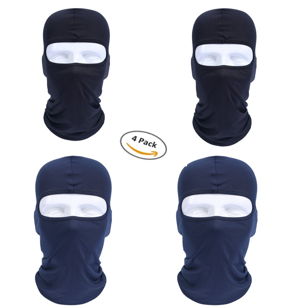 Vishm 4 Pack Breathable Cycling Face Mask-Dust-Proof Windproof Motorcycle Bicycle Bike Face Mask For Cycling, Hiking, Camping, Climbing, Fishing, Hunting, Motorcycling (Black and Blue)
