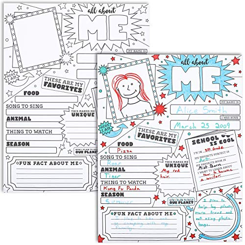 Juvale 30-Pack Kids All About Me Posters for Kindergarten, Elementary School, 17 x 22 Inches -