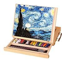 Catekro Caballete de escritorio de madera con cajón