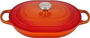 Le Creuset LS2512-312SS Enameled Caset Iron Dutch Oven, 3.75 qt, Flame
