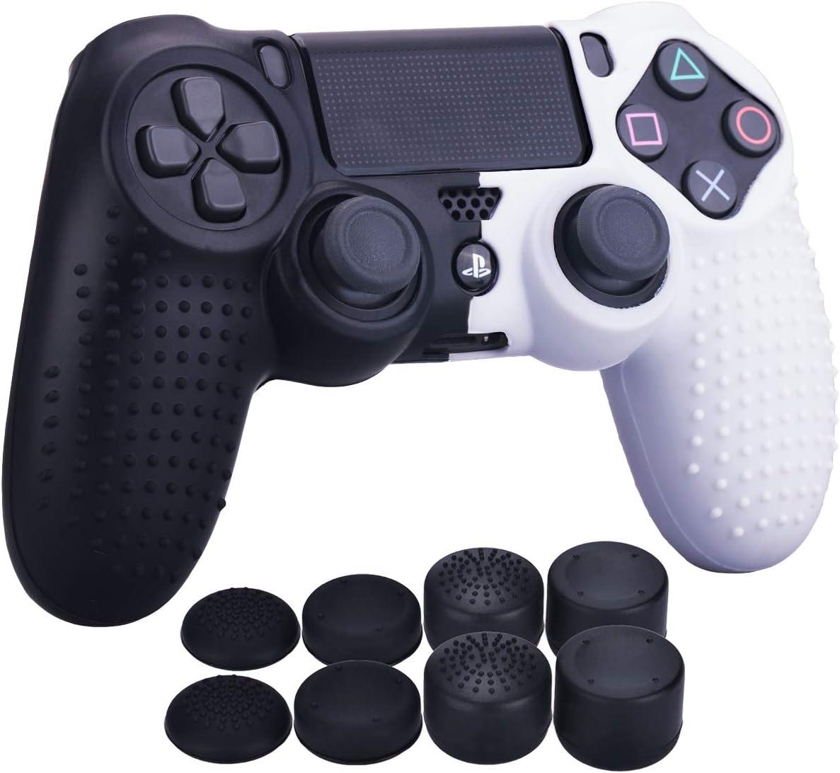 YoRHa Tachonado Puntos Silicona Caucho Gel Personalizando Cubrir Fundas Cover para Sony PS4/Slim/Pro Mando x 1 (Negro&Blanco) Con Pro Asideros Thumb Grips x 8