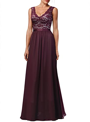 Miusol Women's Deep-V neck Elengant Halter Retro Bridesmaid Prom Maxi Dress