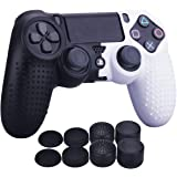 YoRHa Studded Dots Silicone Rubber Gel Customizing Cover for Sony PS4/slim/Pro Dualshock 4 Controller x 1(Black&White) with P