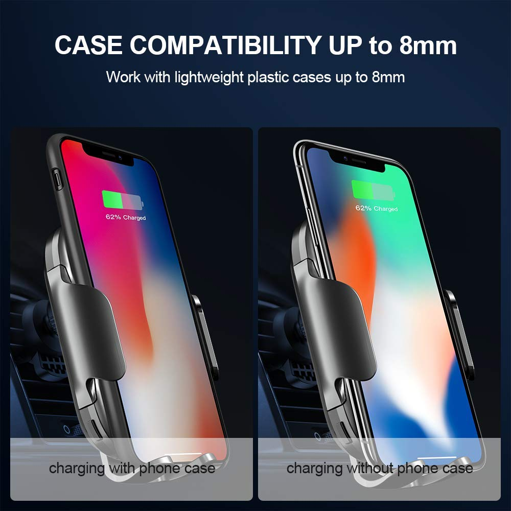 bedee Wireless Car Charger Mount, 15W Fast Qi Wireless Car Charger IR Sensor Automatic Clamping Phone Holder Car Vent Mount Compatible with iPhone 8/8+/X/XS/XS Max/XR/11, Galaxy s9/s9+/s8/s8+/S7