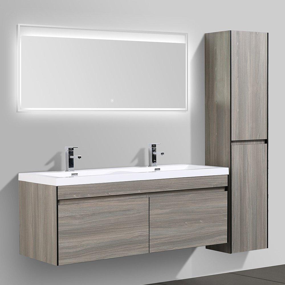 Azzura Meuble Salle De Bain ~ meuble de salle de bain double vasque avec miroir led et rangement