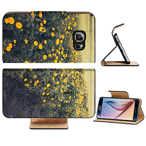 Luxlady Premium Samsung Galaxy S6 Edge Flip Pu Leather Wallet Case IMAGE 28871245 Marigolds or Tagetes erecta flower in the nature or garden vintage