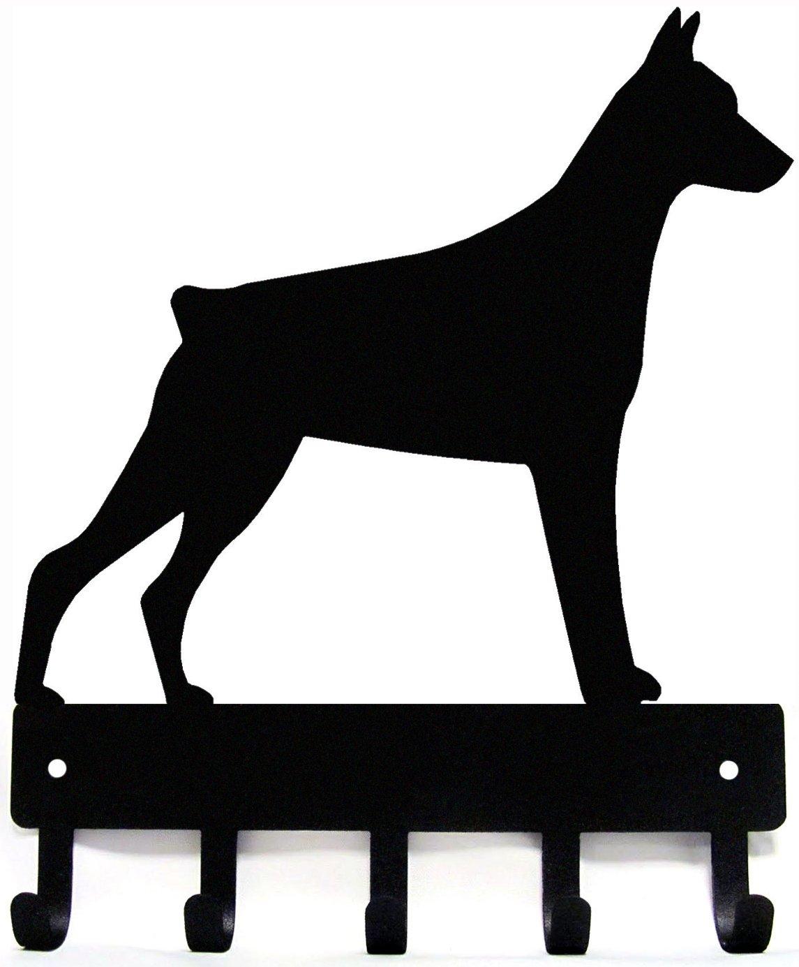 The Metal Peddler Doberman Key Rack Dog Leash Hanger Large 9 inch wide