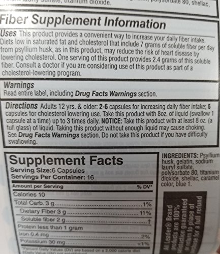 Leader Fiber Capsules, 100 Count Each (Pack of 6) by Leader (Image #2)
