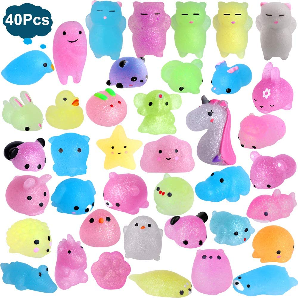 Outee Mochi Squishies Animals, 40 Pcs Mochi Squishies Toys 2nd Generation Mini Toys Stress Relief Squishies Random Animals Squishies Toys Glitter Mini Elephant Squishies for Kids Adults