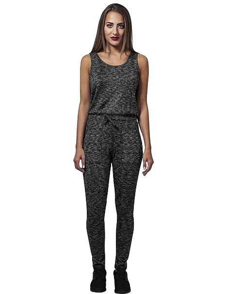 Urban Classics Ladies Melange Jumpsuit, Mono Largo para Mujer, Mehrfarbig (Darkgrey/Black 864), X-Small