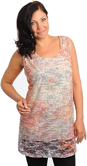 Maggie Barnes Womens Lace Overlay Tank Top Floral Sleeveless Shirt Orange 2x At Amazon Women S Clothing Store