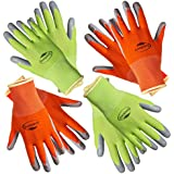 Garden12 Working Gloves for Women. (4 pairs per package) Comfortable Gardening Gloves Medium Size. Breathable Nylon coated with puncture-resistant nitrile