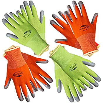 Garden12 Working Gloves For Women. (4 Pairs Per Package) Comfortable Gardening  Gloves Medium Size. Breathable Nylon Coated With Puncture Resistant Nitrile