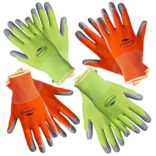 Garden Womens Gloves - Working Gloves for Women. (4 pairs per package) Comfortable Gardening Gloves Medium Size. Breathable Nylon coated with puncture-resistant nitrile