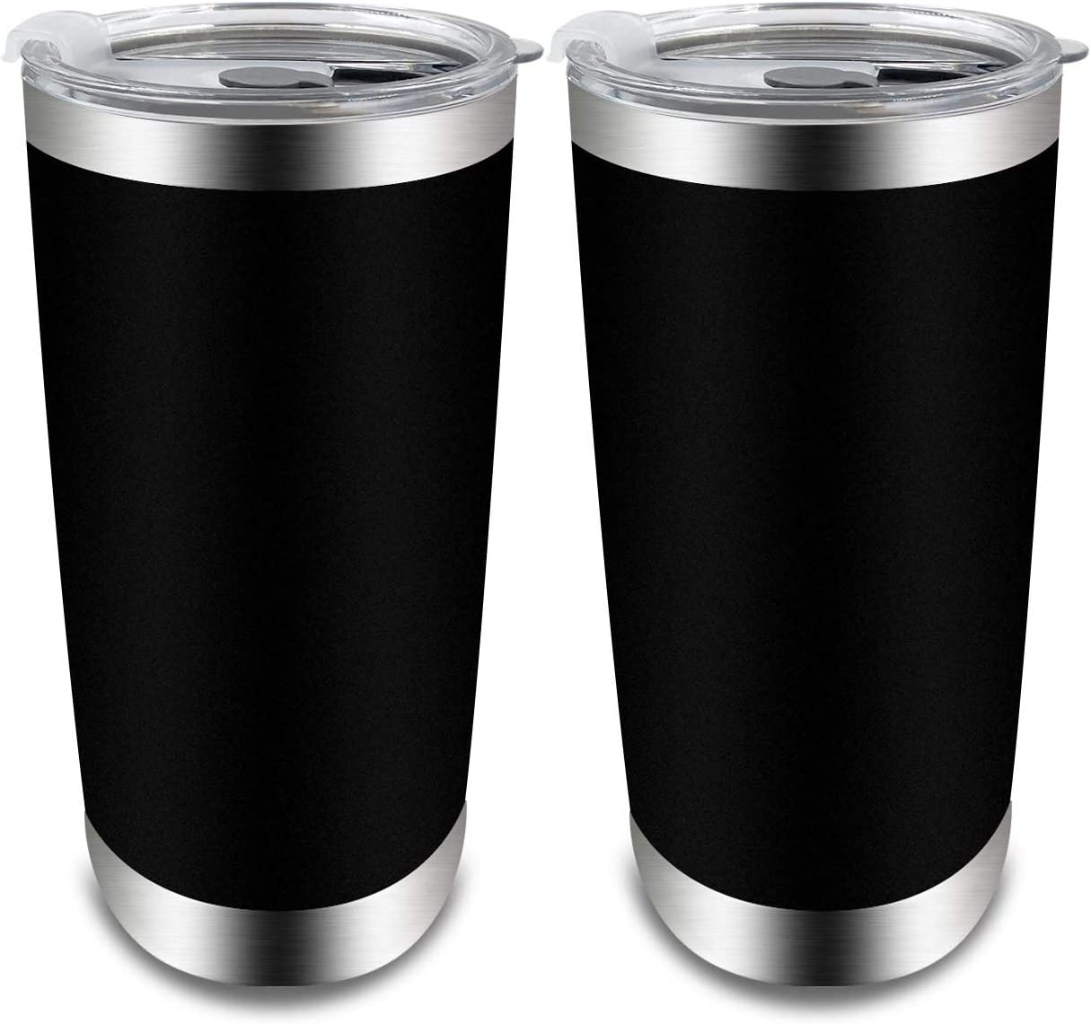 XccMe 20 oz Stainless Steel Tumbler Double Wall Vacuum with Lid Tumblers Travel Mug Coffee Cup for Home Office Outdoor Works Great for Ice Drinks and Hot Beverage(Black 2 Pack)
