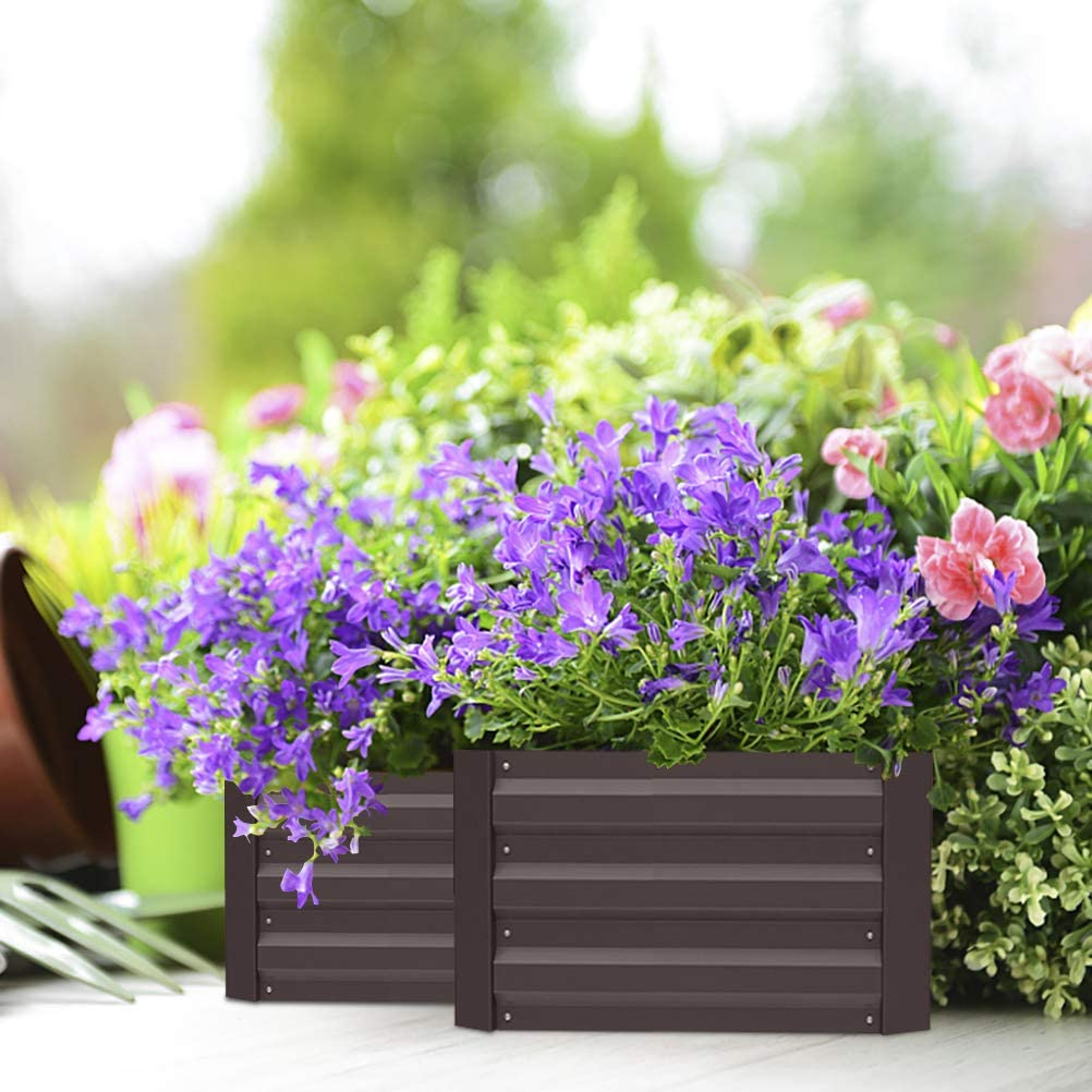 INMOZATA Metal Raised Garden Bed Kit for Vegetables, Galvanized Grow Planter Boxes Outdoor for Fruits, Flowers, Herbs,Patio,Backyard,Balcony,Brown (39.3 x 39.3 x 11.8 inches)
