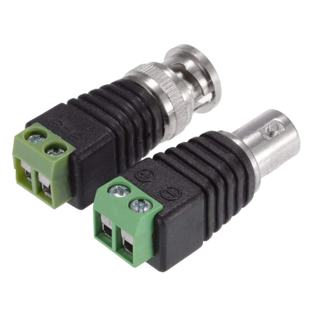 Nopson Conectores BNC Conectores macho 10pcs Conectores hembra 10pcs para c/ámaras de seguridad CCTV
