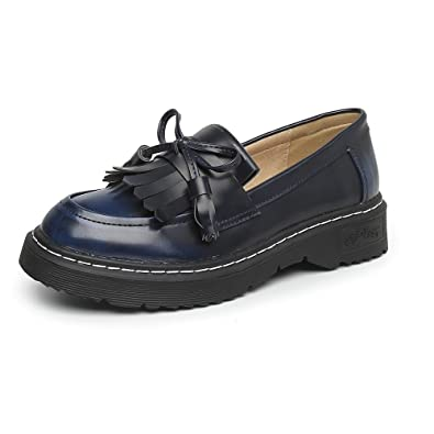 f66d2dc56e5 Meeshine Womens Leather Platform Penny Loafers Fringe Comfort Slip On Dress  Shoes Blue US 9.5