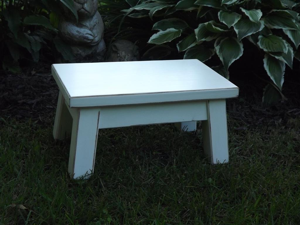 Heirloom white/ wooden step stool/ foot stool/ wood stool/ solid/ distressed riser 8