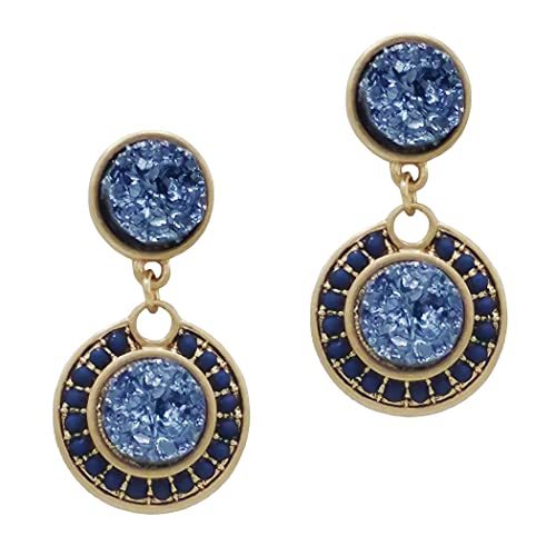 327facbce Image Unavailable. Image not available for. Color: Rosemarie Collections Women's  Vintage Style Double Druzy Drop Statement Earrings (Montana Blue)