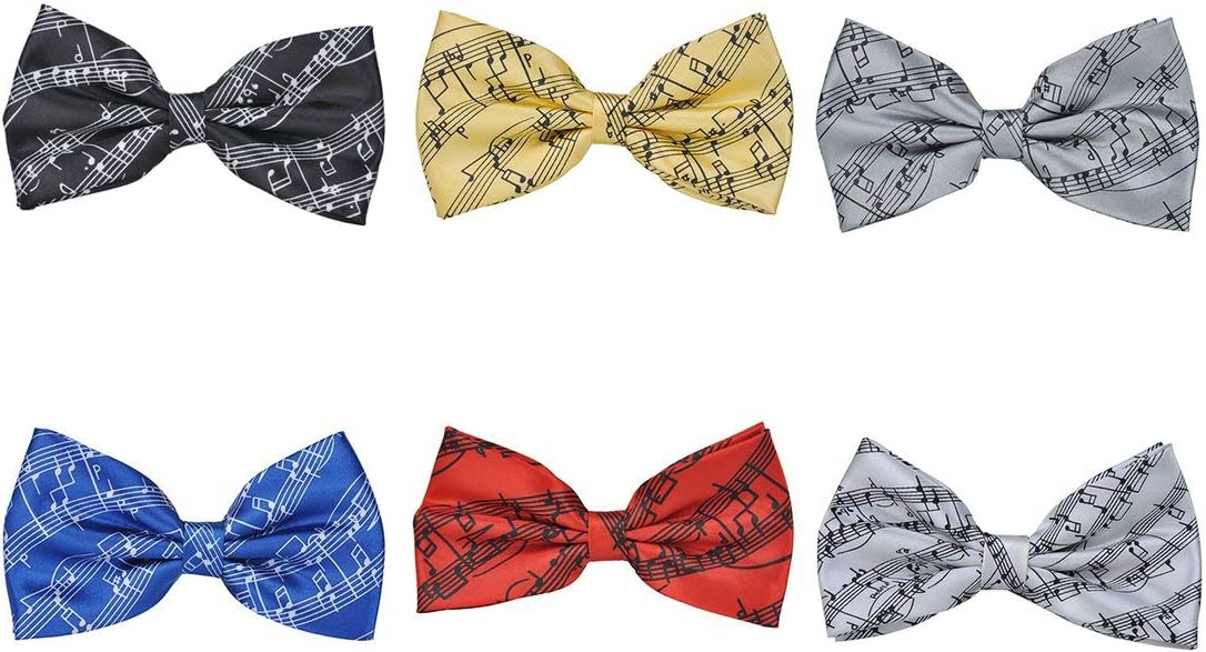 SeniorMar Pre-Tied Bow Tie Printed Musical Notes Classic Men Bow Tie Self-tie Style,For Formal Fun Occasions and Birthday Gift
