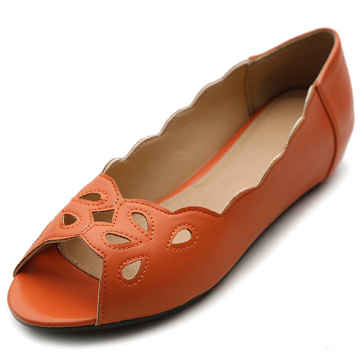 Ollio Women's Ballet Shoe Cut-out Open-Toe Multi Color Flat B00DH2M04C 5.5 B(M) US Orange