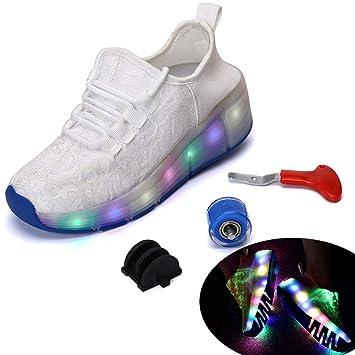 HWJF Zapatillas de Ruedas Luminosas para niños. Linterna LED. Zapatillas de Color de bajo