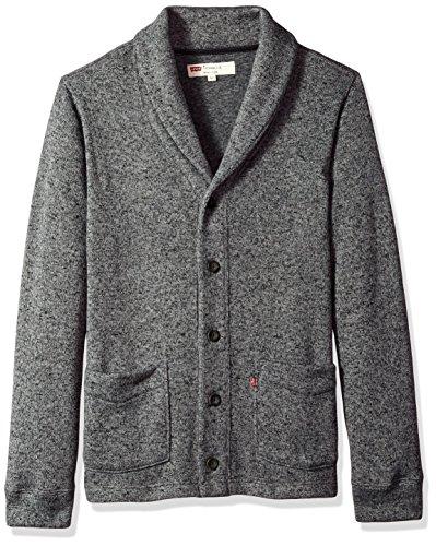 Levi's Men's Rand Shaw Collar Fleece Sweater Cardigan, Castlerock, Large (Cardigan Collar Sweater)