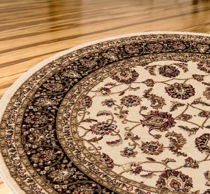 Antique Classic Ivory 7'10'' ROUND Area Rug Oriental Floral Motif Detailed Classic Pattern Persian Living Dining Room Bedroom Hallway Office Carpet Easy Clean Traditional Soft Plush Quality (Round Indoor Outdoor Rugs Sale)