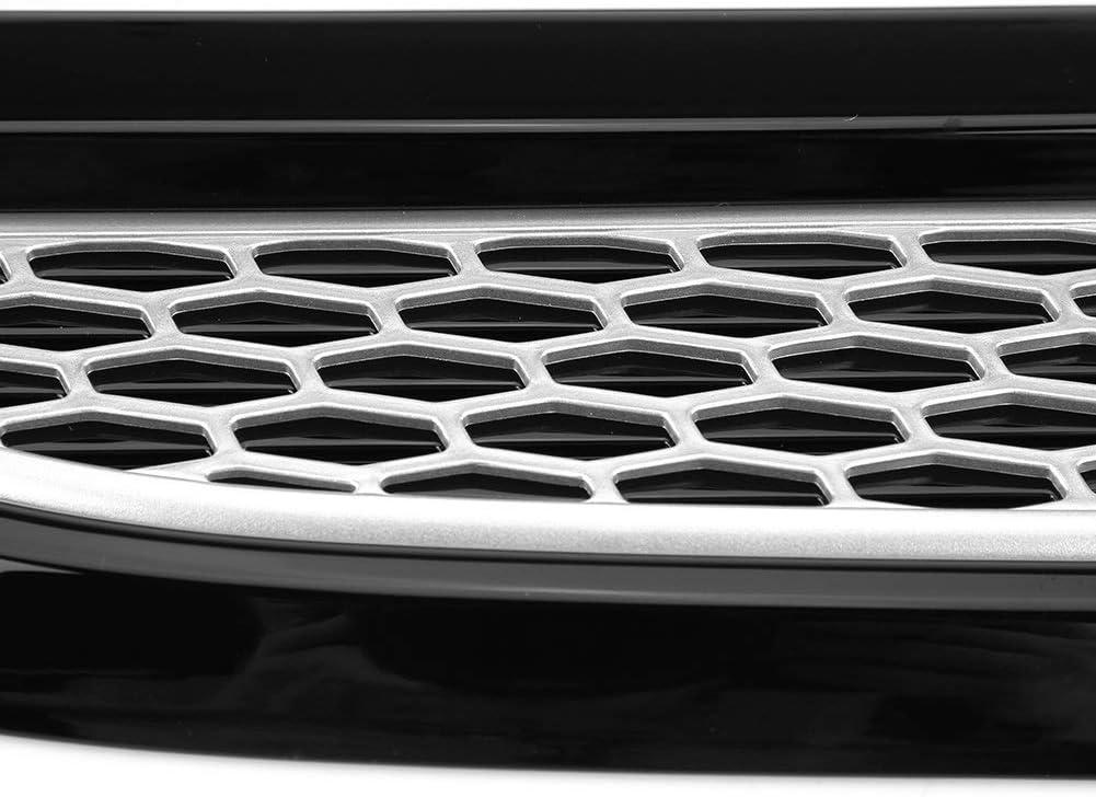 Farbe : Black+Silver Air Wing-Ordnung Au/ßenhaube Entl/üfterelement Outlet Fl/ügel Trim for Land Rover Range Rover Evoque 2012-2018
