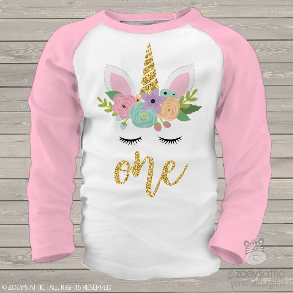 Unicorn First Birthday Shirt Personalized with Glitter