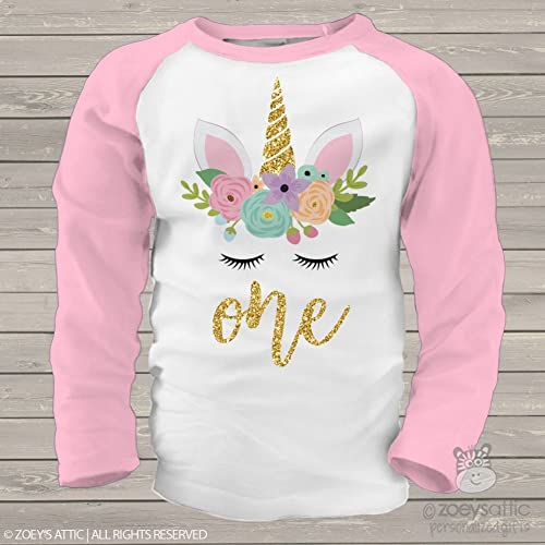 8f46b721e Amazon.com: Unicorn First Birthday Shirt Personalized with Glitter: Handmade