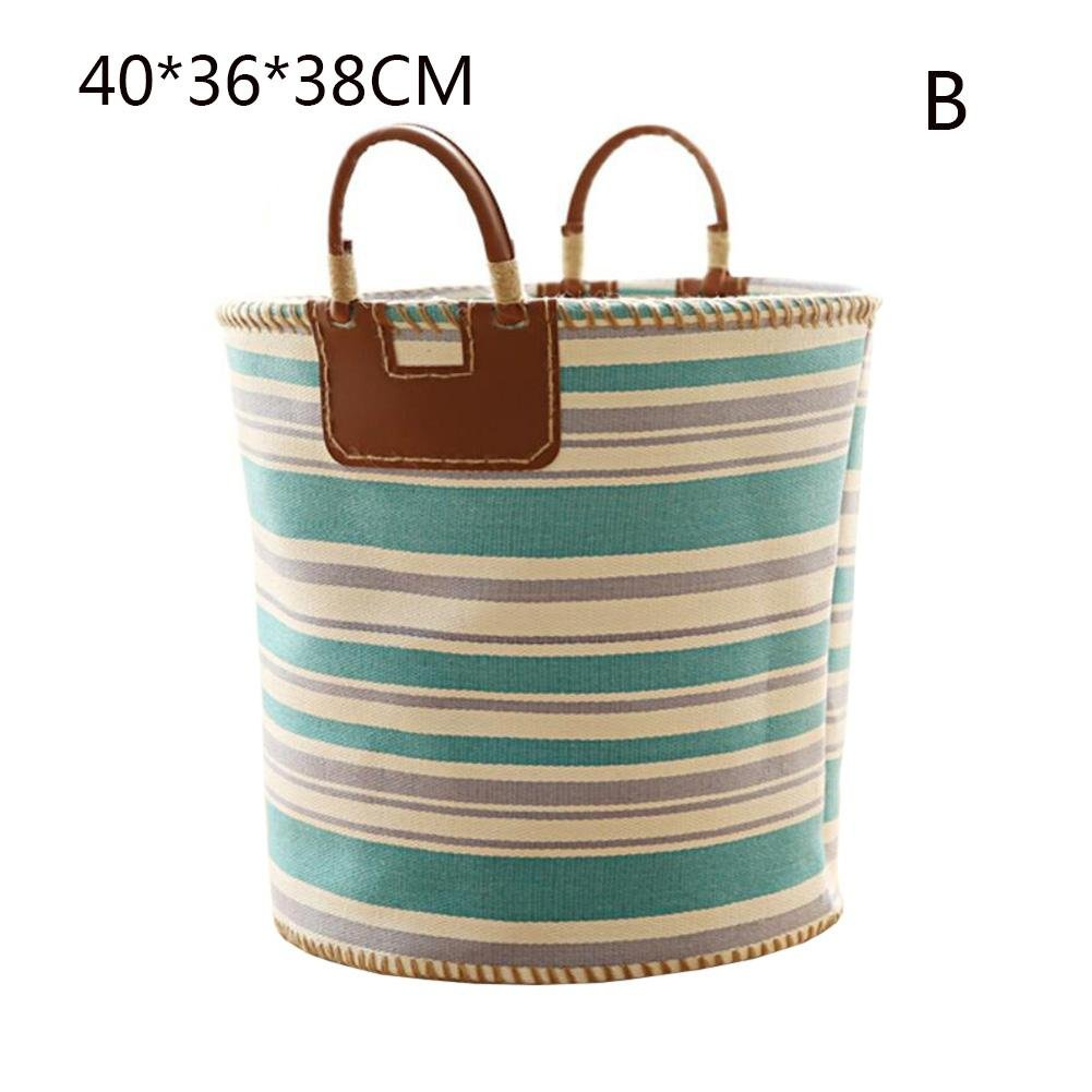 TSAR003 Nordic Style Color Fabric Multi-Purpose Laundry Hamper Or Basket Dirty Clothes Toy Debris Storage Barrels , Green Stripes , Size 403638