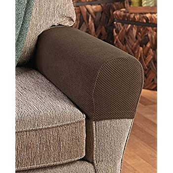 amazon com set of 2 stretch armrest covers chocolate home kitchen rh amazon com armrest covers for sofas ireland armrest covers for sofas ireland
